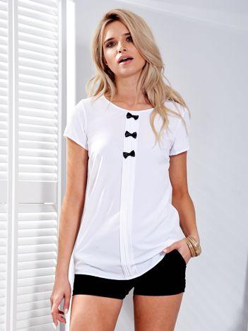 Biała bluzka z kokardkami
