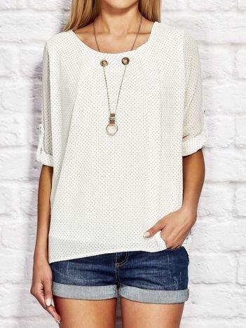 Biała koszula w drobne groszki