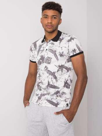 Biała koszulka polo męska we wzory Jasper
