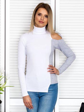 Biała prążkowana bluzka cold arms z golfem