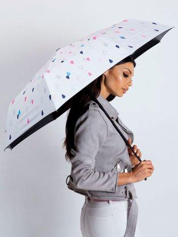 Biała składana parasolka z nadrukiem