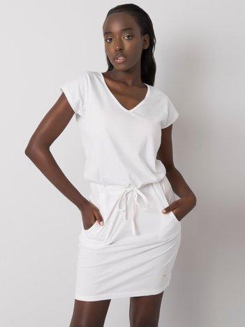 Biała sukienka bawełniana Curtis NIE ZNASZ MNIE