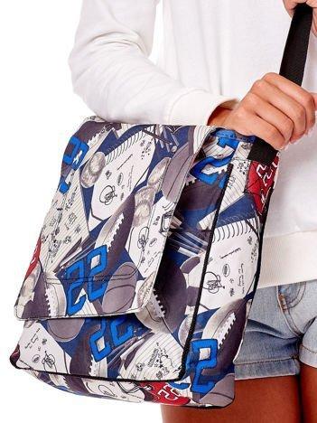 Biała torba na ramię z sportowym printem