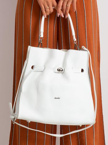 Biała torba skórzana ze ściągaczem