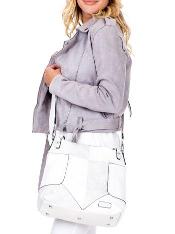 Biała torba z łączonych materiałów