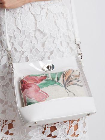 Biała torebka z wyjmowaną kosmetyczką
