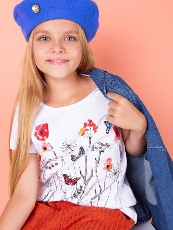 Biała tunika dla dziewczynki z nadrukiem