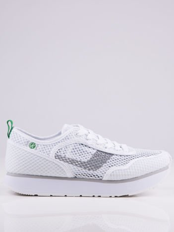 Białe ażurowe buty sportowe na piankowej podwyższonej podeszwie