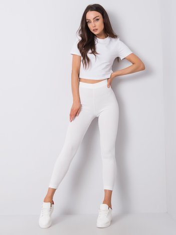 Białe legginsy w prążek Dafne RUE PARIS