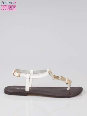 Białe skórzane sandały japonki ze złotą aplikacją Magic