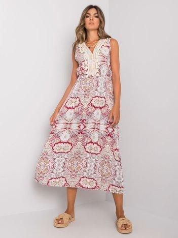 Biało-bordowa wzorzysta sukienka Lylah