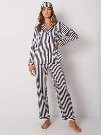 Biało-czarna piżama damska w paski