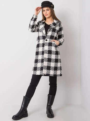 Biało-czarny płaszcz w kratę Alisson