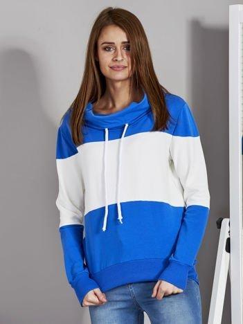Biało-niebieska modułowa bluza damska z troczkami