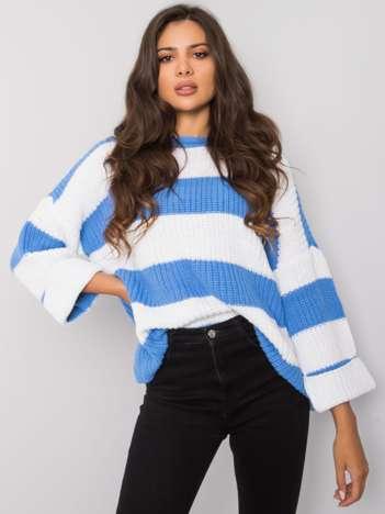 Biało-niebieski sweter w paski Bree