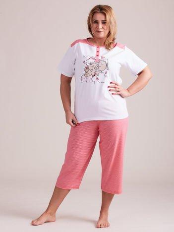 Biało-różowa damska piżama PLUS SIZE