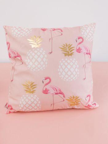 Biało-różowa dekoracyjna poduszka