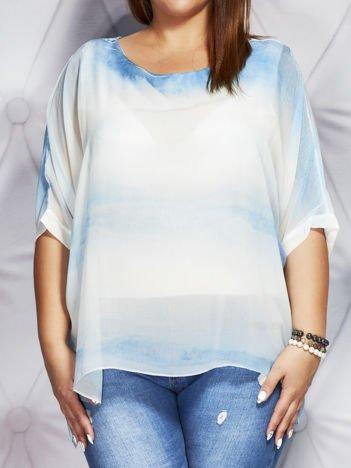 Biało-turkusowa bluzka w malarskie desenie PLUS SIZE