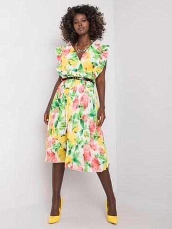 Biało-żółta sukienka w kwiaty Katelynn