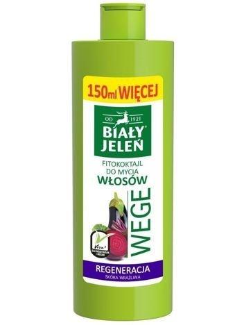Biały Jeleń Wege Fitokoktajl do mycia włosów regenerujący Burak i Bakłażan  400 ml