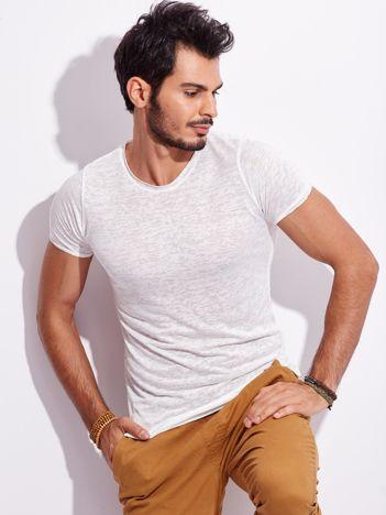 Biały bawełniany t-shirt męski