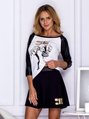 Biały komplet z nadrukiem bluzka i spódnica