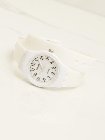 Biały mały silikonowy zegarek damski owijany wokół nadgarstka