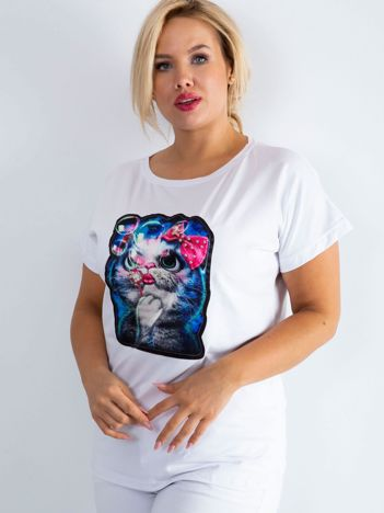 Biały t-shirt Adorable PLUS SIZE