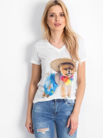 Biały t-shirt Amenable