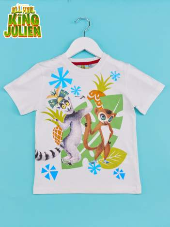 Biały t-shirt chłopięcy KRÓL JULIAN