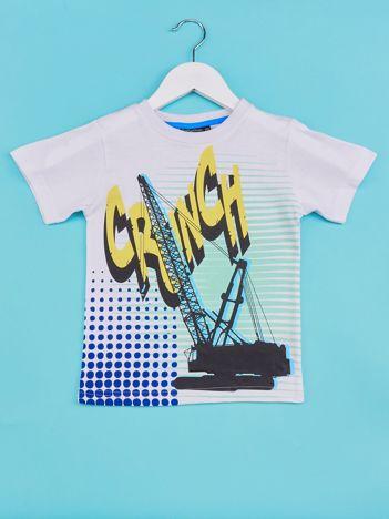 Biały t-shirt chłopięcy z industralnym nadrukiem