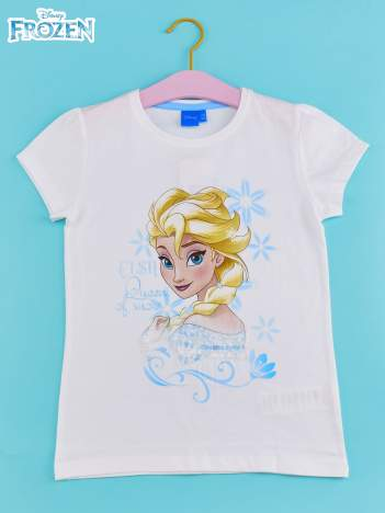 Biały t-shirt dla dziewczynki KRAINA LODU