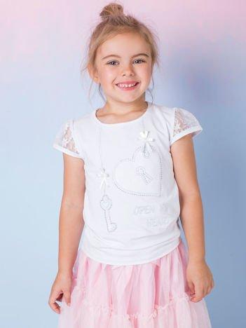 Biały t-shirt dla dziewczynki z dżetami