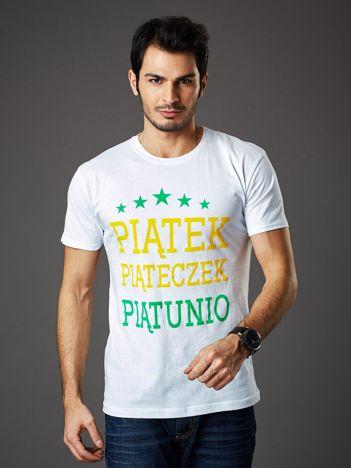 Biały t-shirt męski PIĄTEK PIĄTECZEK