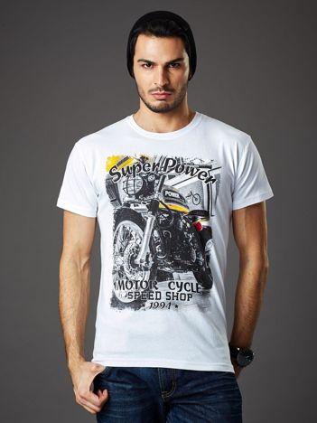 Biały t-shirt męski z motocyklowym nadrukiem