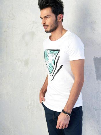 Biały t-shirt męski z nadrukiem