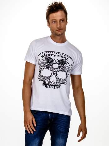 Biały t-shirt męski z nadrukiem czaszki i napisami