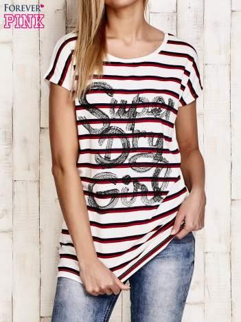 Biały t-shirt w czerwone paski z napisem SUPER DRY GIRL