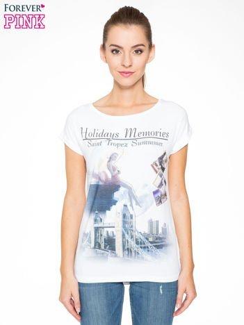 Biały t-shirt z nadrukiem Saint Tropez