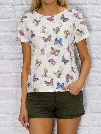 Biały t-shirt z nadrukiem motyli
