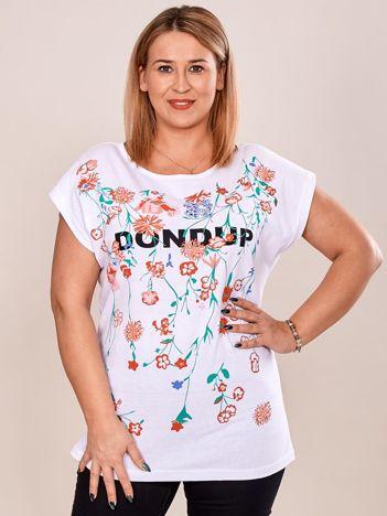 Biały t-shirt z printem PLUS SIZE