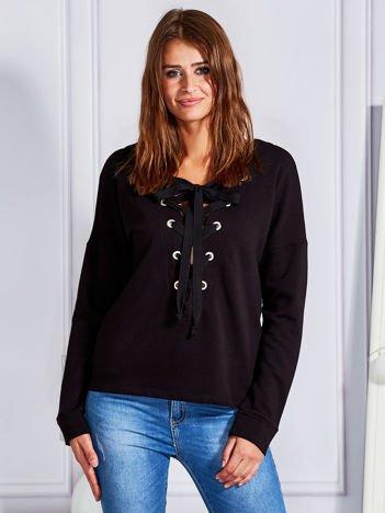 Bluza V-neck lace up czarna