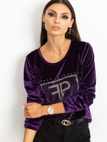 Bluza damska aksamitna z aplikacją z perełek i dżetów fioletowa