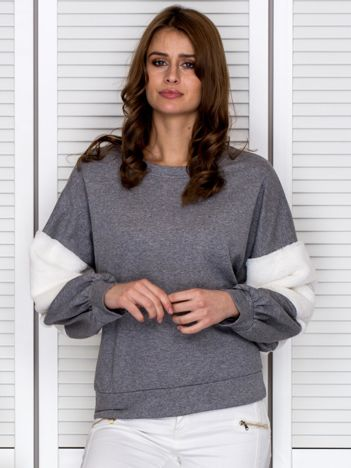 Bluza damska oversize z ozdobnym futerkiem szara