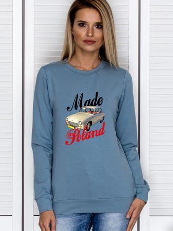 Bluza damska patriotyczna Syrenka MADE IN POLAND niebieska