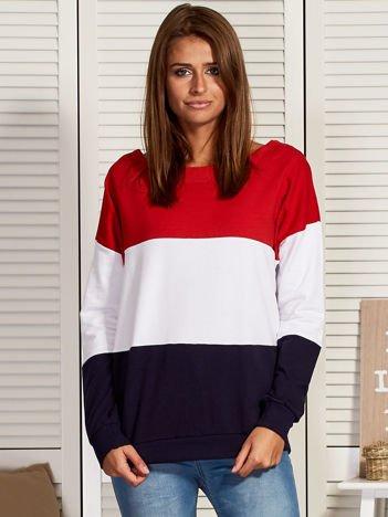 Bluza damska tricolor czerwono-biała
