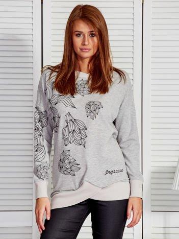 Bluza damska w roślinne motywy szara