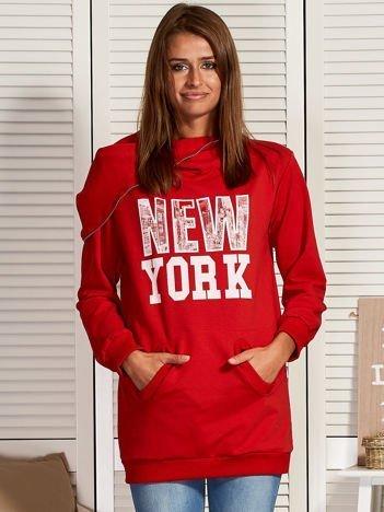 Bluza damska z motywem Nowego Jorku czerwona