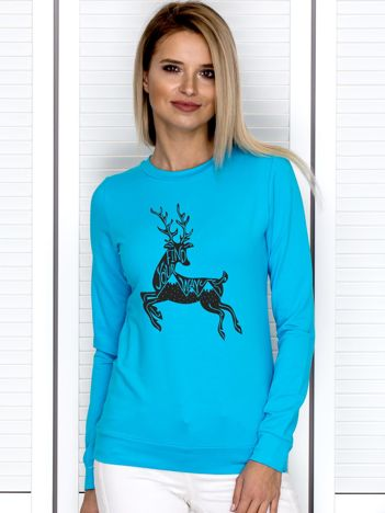 Bluza damska z reniferem i napisem turkusowa