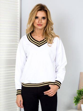 Bluza damska ze ściągaczami w paski biała